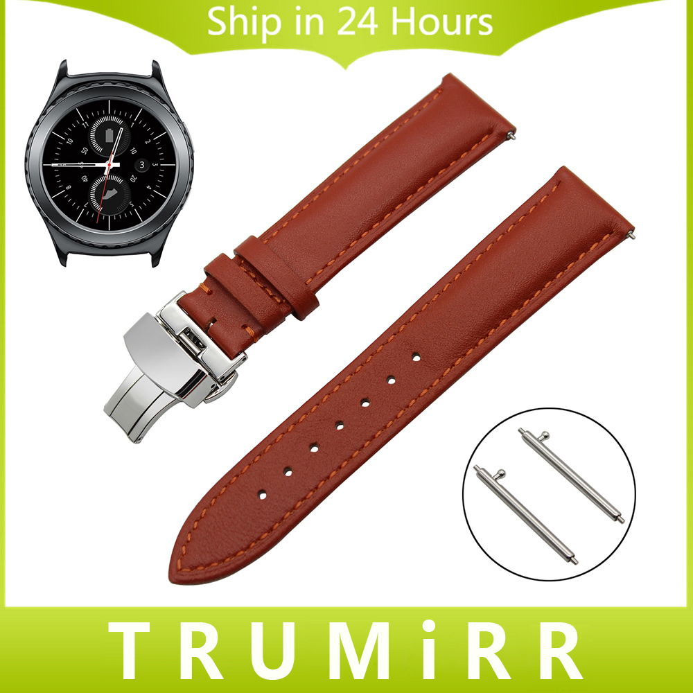 20mm Quick Release Watch Band for Samsung Gear S2 Classic R732 / R735 1st Layer Genuine Leather Strap Butterfly Buckle Bracelet 18mm 20mm 22mm quick release watch band butterfly buckle strap for tissot t035 prc 200 t055 t097 genuine leather wrist bracelet