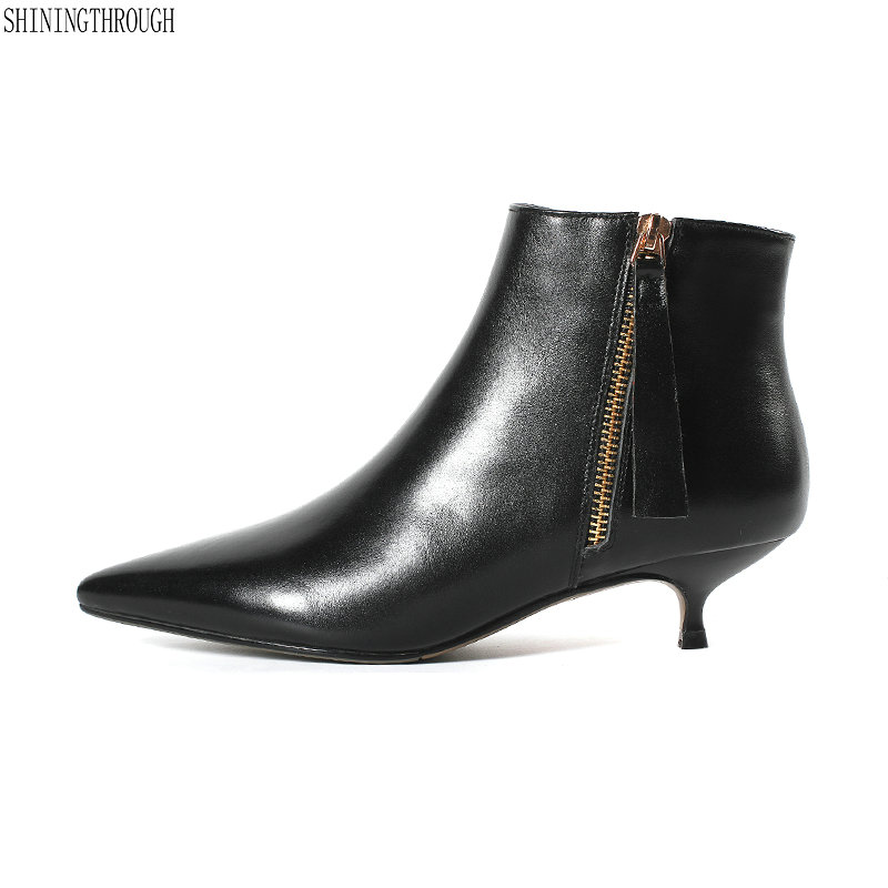 New cow leather low heels women ankle boots black white office ladies dress shoes spring autumn