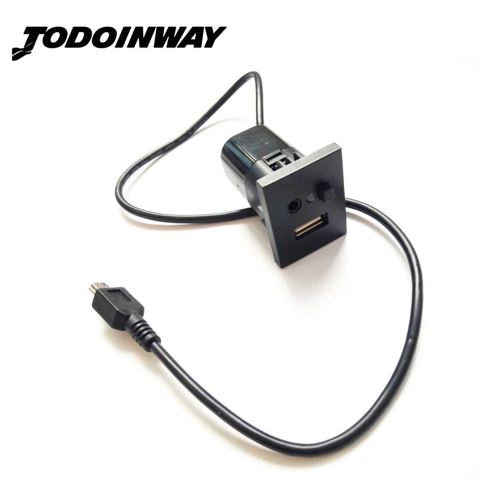 Untuk Ford Focus MK2 USB / AUX Slot interface Plug Button + Kabel Antarmuka Dengan Mini USB Cable Adapter Accessories Black Silver