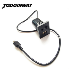For Ford Focus MK2 USB/AUX <font><b>Slot</b></font> interfaces Plug Button + Cable Interface With Mini USB Cable <font><b>Adapter</b></font> Accessories Black Silver