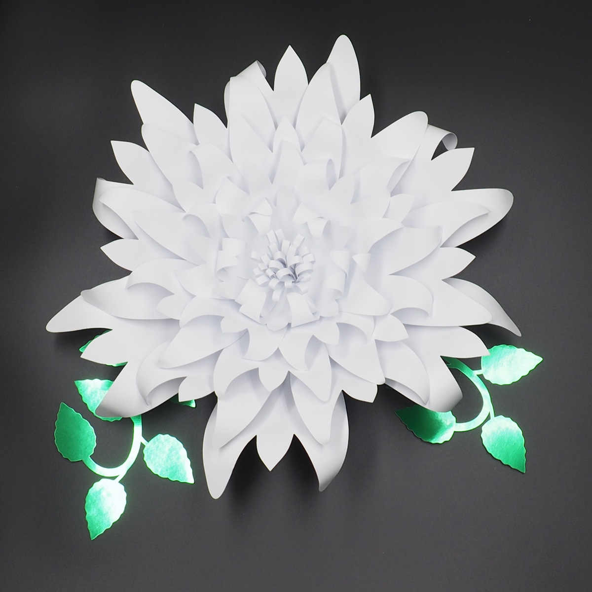 1piece Flower 2pcs Leaves Giant Large Paper Flowers Backdrop Wall Deco Wedding Arch Handcrafted Artificial Flowers Wall Hanging