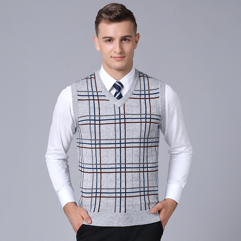 2019 New Fashion Brand Sweater For Mens Sleeveless Slim Fit Jumpers Knitting Plaid Warm Autumn Korean Style Casual Mens Clothes