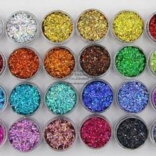 24 голографические цвета Круглый в горошек 1 мм Размер Блестки для ногтей и искусства DIY decora