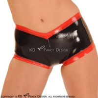 Black With Red Stripes At Front And Bottom Sexy Latex Boyshort Rubber Panties Briefs Underpants Underwear DK 0167