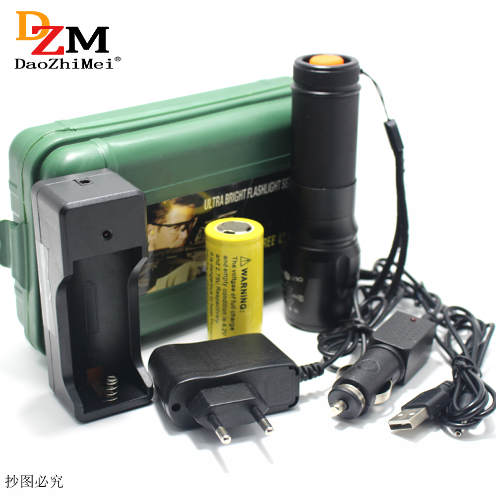 Zoomable High power tactical flashlight XM-L2 T6 led flashlight torch lighting Defensive light Torch+26650 battery+charger alonefire x160 cree xm l2 led flashlight high power lighting flashlight torch with 26650 battery charger