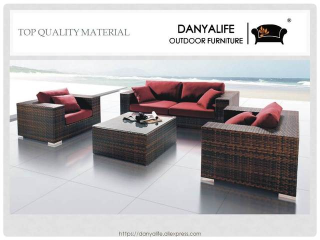 DYSF D4412 Danyalife High End Villa Outdoor Poly Rattan Sofa Set 4 Seats