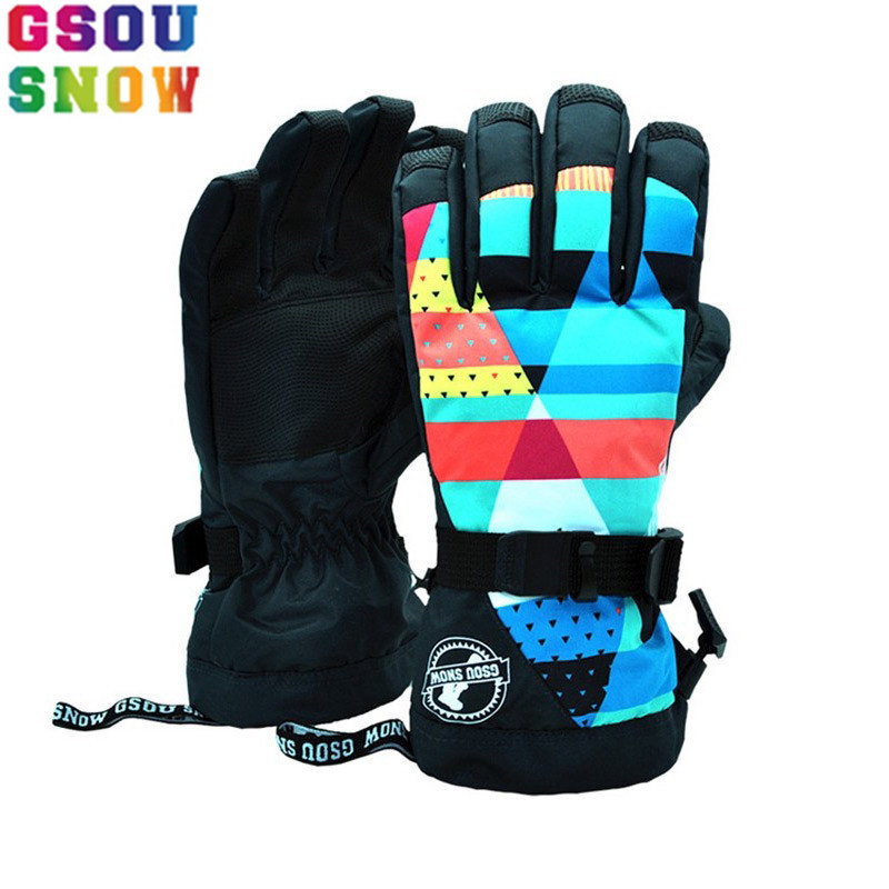 GSOU SNOW Brand Ski Gloves Women Snowboard Gloves Female Waterproof Mountain Skiing Glove Winter Outdoor Snowboarding Snowmobile
