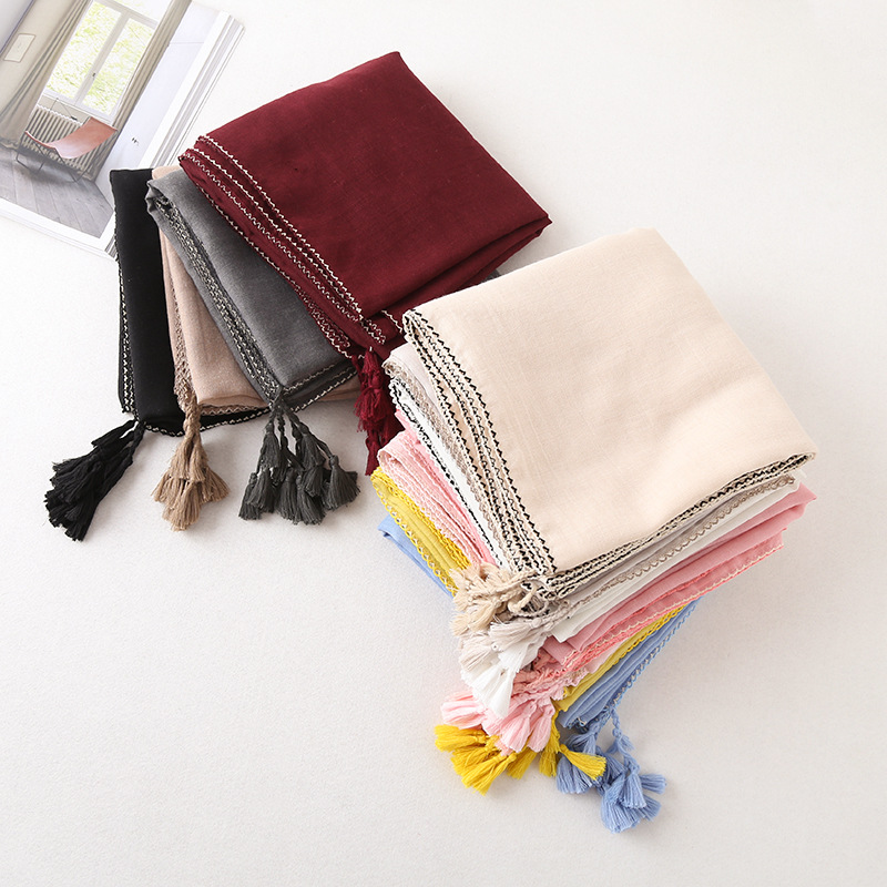 QA1101 Korean style solid cotton linen summer beach pareo women hansenne dew neckerchief street wear scarves