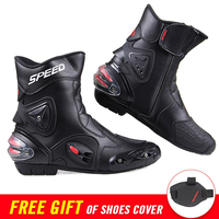 PRO BIKER Motorcycle Boots Men PU Leather Motocross Ankle Joint Protective Gear Moto Shoes Motorbike Racing Bicycle Speed Boots