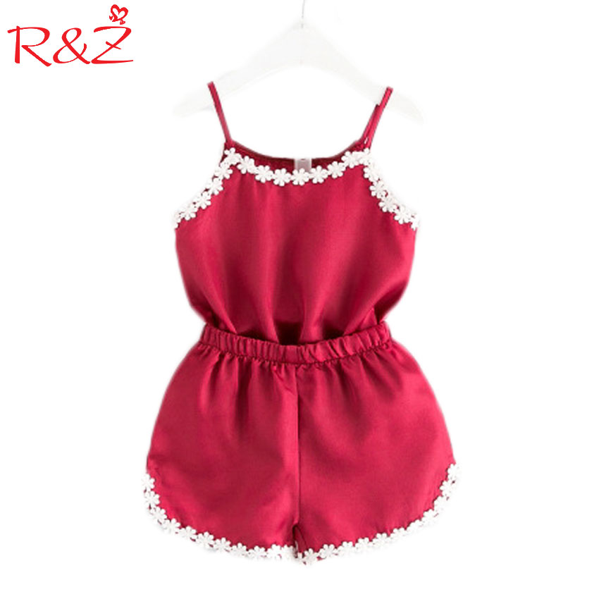 R&Z 2017 New Girls Summer Fashion Home Clohtes Childrens Lace Harness Pajamas+Shorts 2 PCS/suit Kids Clothing Sets