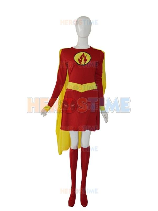 Supergirl Custom Costume Red & Yellow Female Spandex superman Superhero Costume