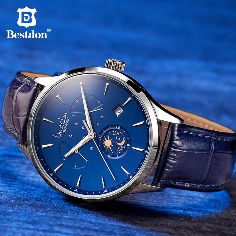 Bestdon Switzerland Luxury Brand Mechanical Watch Automatic Men Moon Phase Blue Leather Wristwatch Transparent Bottom Cover