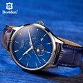 Bestdon швейцарские роскошные брендовые механические часы, автоматические мужские часы с фазой Луны, синие кожаные Наручные часы, Классически...