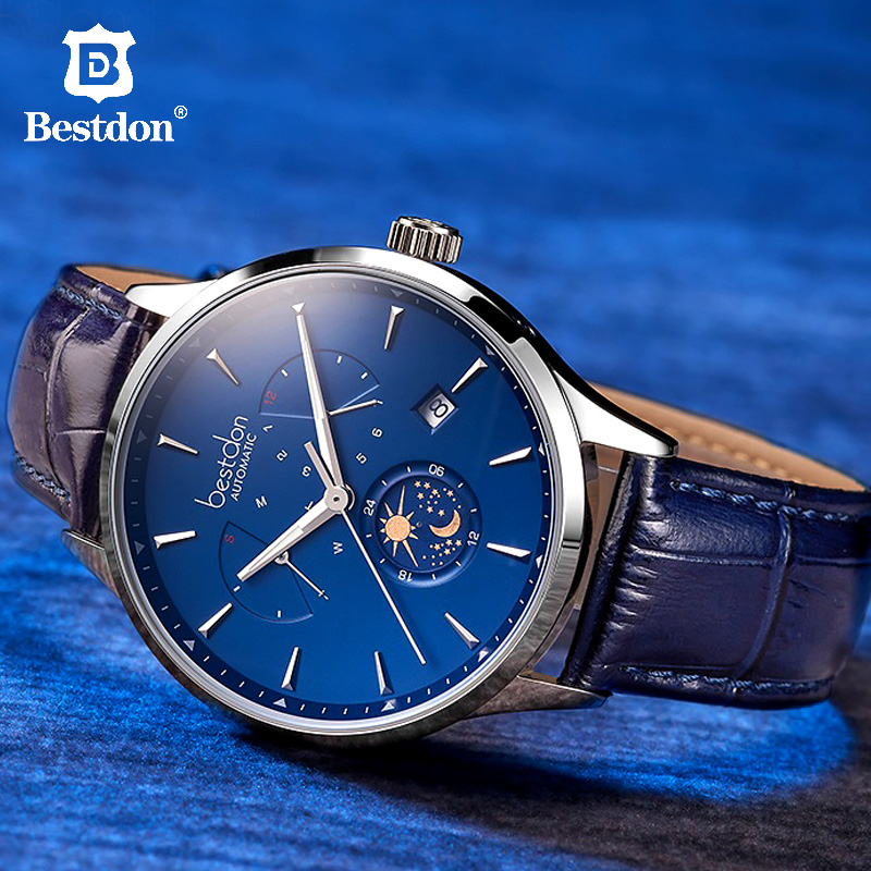 Bestdon Switzerland Luxury Brand Mechanical Watch Automatic Men Moon Phase Blue Leather Wristwatch Transparent Bottom Cover NewBestdon Switzerland Luxury Brand Mechanical Watch Automatic Men Moon Phase Blue Leather Wristwatch Transparent Bottom Cover New