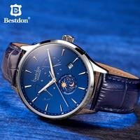 Bestdon Switzerland Luxury Brand Mechanical Watch Automatic Men Moon Phase Blue Leather Wristwatch Transparent Bottom Cover New