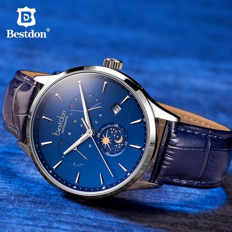 Bestdon سويسرا العلامة التجارية الفاخرة الميكانيكية ووتش التلقائي الرجال القمر المرحلة الأزرق ساعة يد جلدية الكلاسيكية شهم 2019-في الساعات الميكانيكية من ساعات اليد على  مجموعة 1