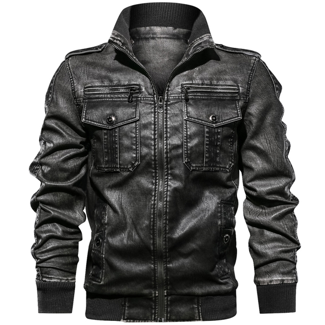 Military Army Mens Motorcycle Leather Jackets Coats Stand Collar Multi-pocket Pu Leather Coat European size S-XXL Dropshipping 2