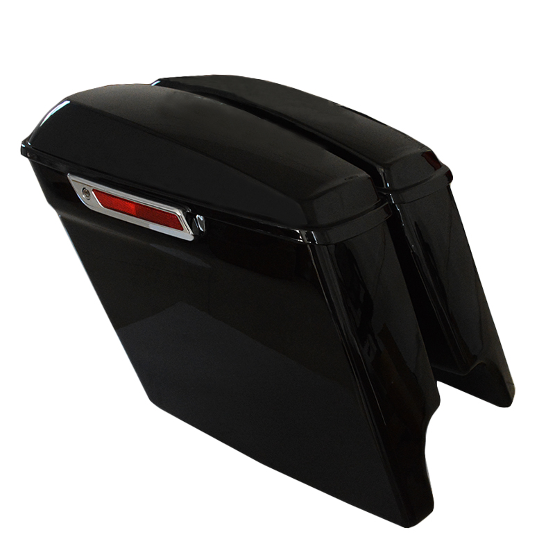 Bright  Black 5 Stretched Extended Saddlebags for Harley Touring Road King Street Glide FLHT 2014-201716 15 matte black 5 stretched hard saddle bags latch side bag for harley road king road street glide softail dyna and sportster 93 13