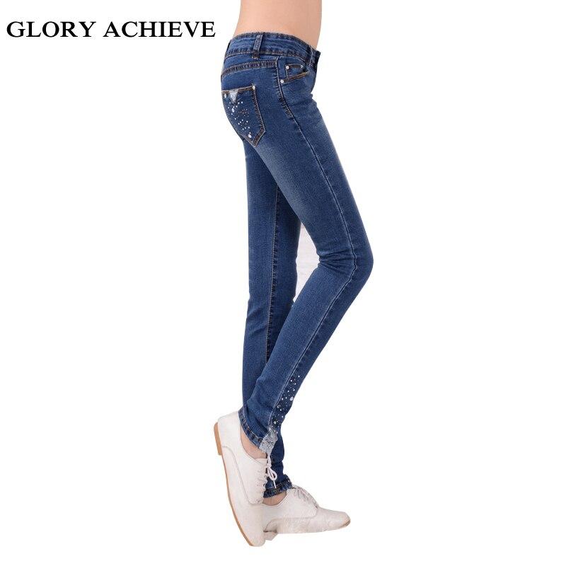 skinny jeans woman spring fashion diamond lace jeans femme stretch women 39 s pants denim trousers. Black Bedroom Furniture Sets. Home Design Ideas