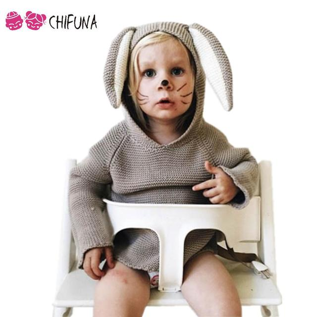 Hot 2016 Muchachas de Los Muchachos Suéter Con Diseño Lindo Pequeño Conejo Orejas Jerseys Niños Ropa Niños Del Otoño Del Resorte de Punto Suéteres