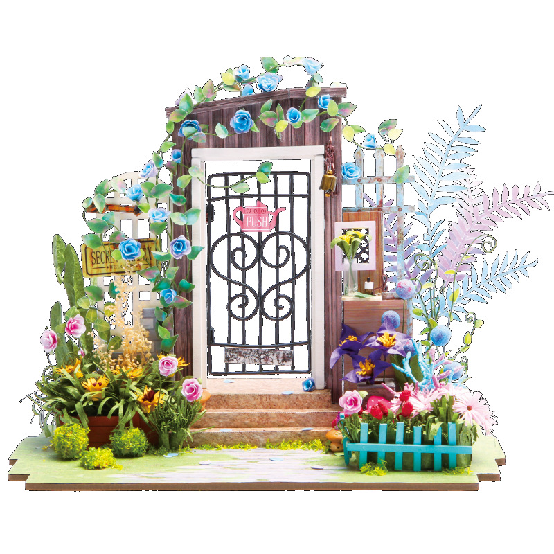 DIY Doll House Miniature With Furniture Art House Creative Handmade Wooden Mini Dollhouse Gift Toys Model Secret Door DGM02 #E