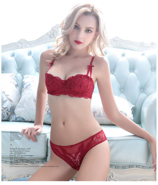 2017 New Fashion lace cup red underwear luxury comfortable sexy padded bra  panties set plus size ad5f112c8