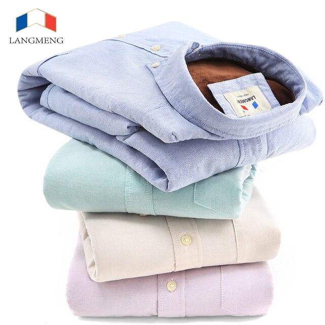 Langmeng 2016 venda quente dos homens camisa de veludo inverno outwear super quentes camisas casual masculino slim fit camisas de vestido men100 % algodão camisas