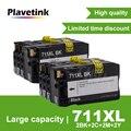 Plavetink 2 набора чернильных картриджей для принтера 4 цвета замена для HP 711 711XL для HP DesignJet T120 T520 принтер Полный с чернилами
