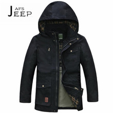 AFS JEEP Solid Chest Zipper Pocket Autumn man's long hat jacket,Detachable Hooded Loose Plus size Pockets cargo outwear brand