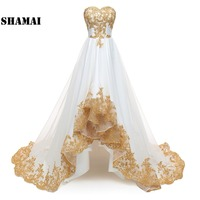 SHAMAI High Low Wedding Dresses 2019 Gold Appliques Plus Size Wedding Gowns Short Front Long Back Bride Dress Robe De Mariage