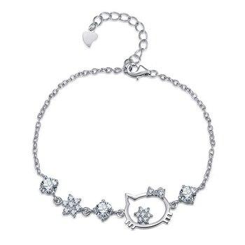 Hello Kitty fleur violet cristal Bracelet Bracelet pour femmes mignon chat breloque en zircon coréen Bracelet bijoux meilleur Souvenir cadeau