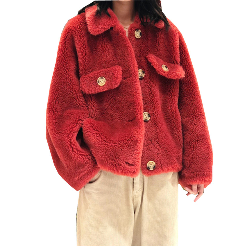 S-6XL Autumn And Winter Clothing Plus Size Sheep Shearing Granular Jacket Women Short Loose Wool Overcoat Faux Fur Coat