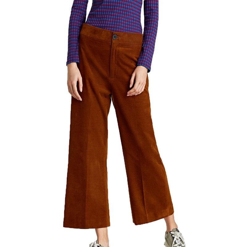 Summer   pants   women casual high waist   pants   corduroy women clothes 2018   wide     leg     pants