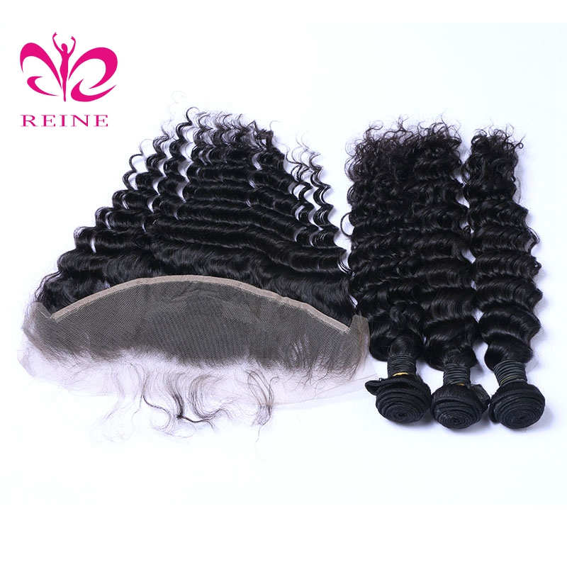 deep wave bundles with frontal 3 or 4 bundles with closure 10 ~ 26 inchs brazilian human hair REINE none remy free shipping