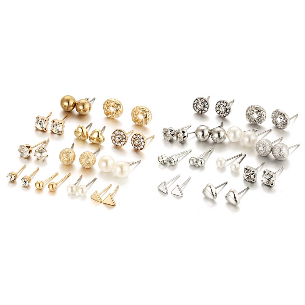 12 Pairs Geometry Stud Earrings Statement Zircon Crystal Simple and Causal Style Jewelry for Grils