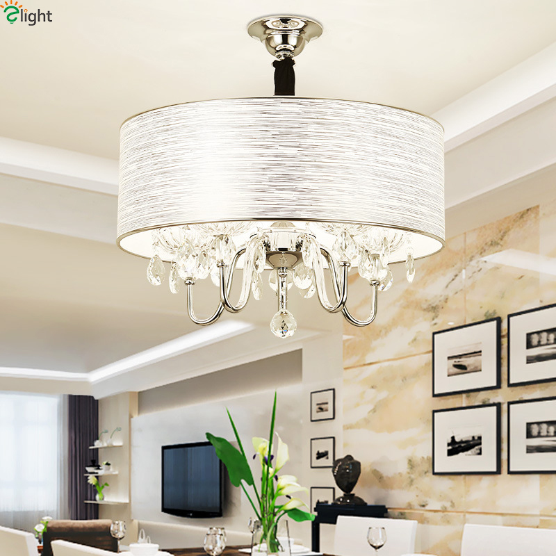 Modern Crystal Led Pendant Lights Chrome Metal Dining Room Led Pendant Light Living Room Led Pendant Lamp Hanging Light Fixtures