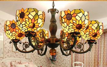 Tiffany Baroque Sunflower Stained Glass Suspended Luminaire E27 110-240v Chain Pendant Lights For Home Parlor Dining Room