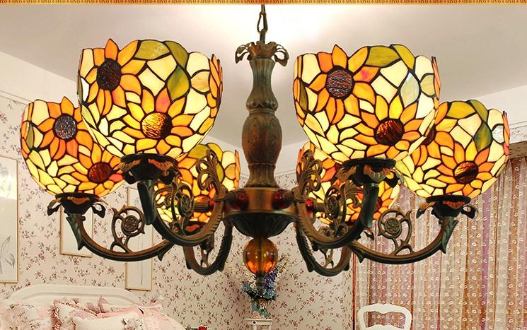 Tiffany Baroque sunflower Stained Glass Suspended Luminaire E27 110-240V Chain Pendant lights  for Home Parlor Dining Room tiffany baroque sunflower stained glass iron mermaid wall lamp indoor bedside lamps wall lights for home ac 110v 220v e27