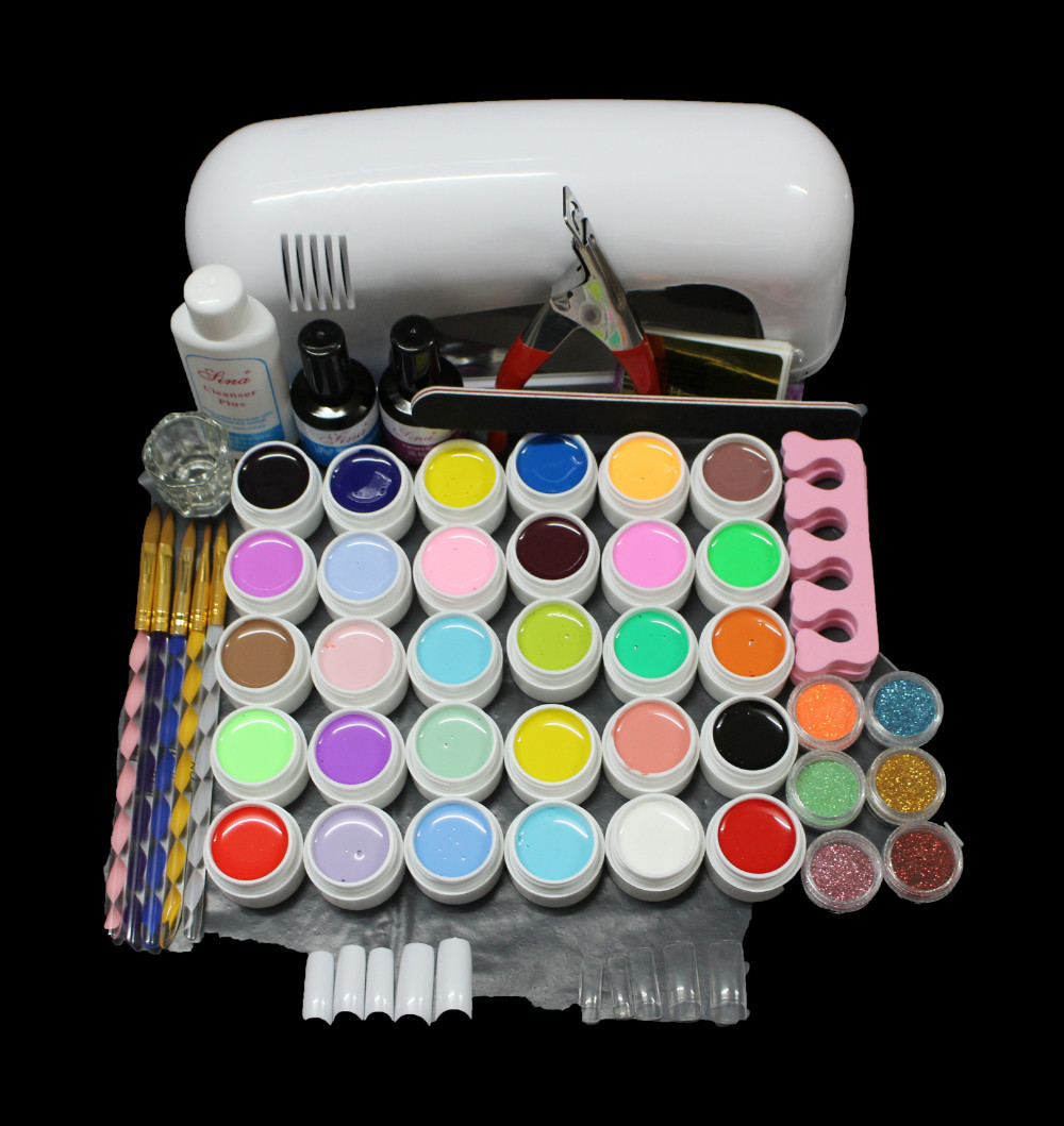 ATT-84 Free Shipping PRO 9W UV White Lamp 36 Color Pure UV GEL Powder Acrylic Brush Nail Art Tool KIT att 138 pro nail polish eu us plug 9w uv lamp gel cure glue dryer 54 powder brush set kit at free shipping