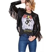 מעילי עור שחור ציצית אופנה נשים Casacos Feminina Jaqueta מעיל PU אופנוע רוכסן אביב גודל XXL
