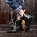 Tallado Winkle-picker Japanned de Cuero Real 2015 de Los Hombres Zapatos de Diseñador Para, Además de Terciopelo Botines Zip Botas Brogue Brillante de Alta calidad