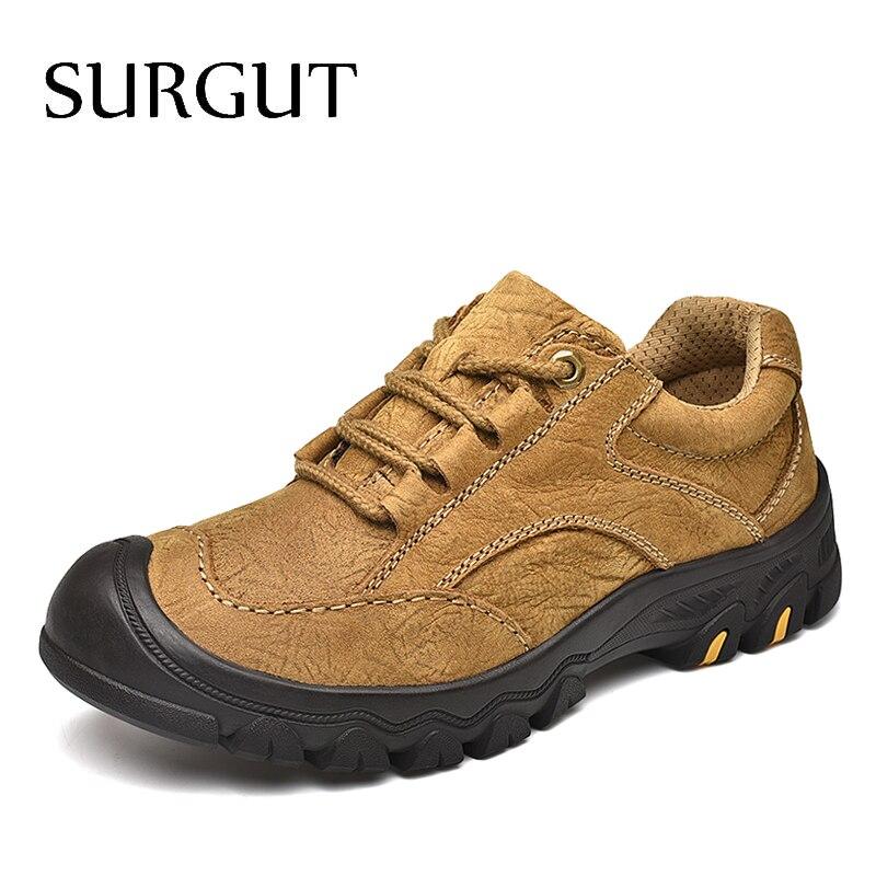 SURGUT Men Shoes Genuine Leather Comfortable Men Casual Shoes Footwear Chaussures Breathable Flats Men Lazy Shoes
