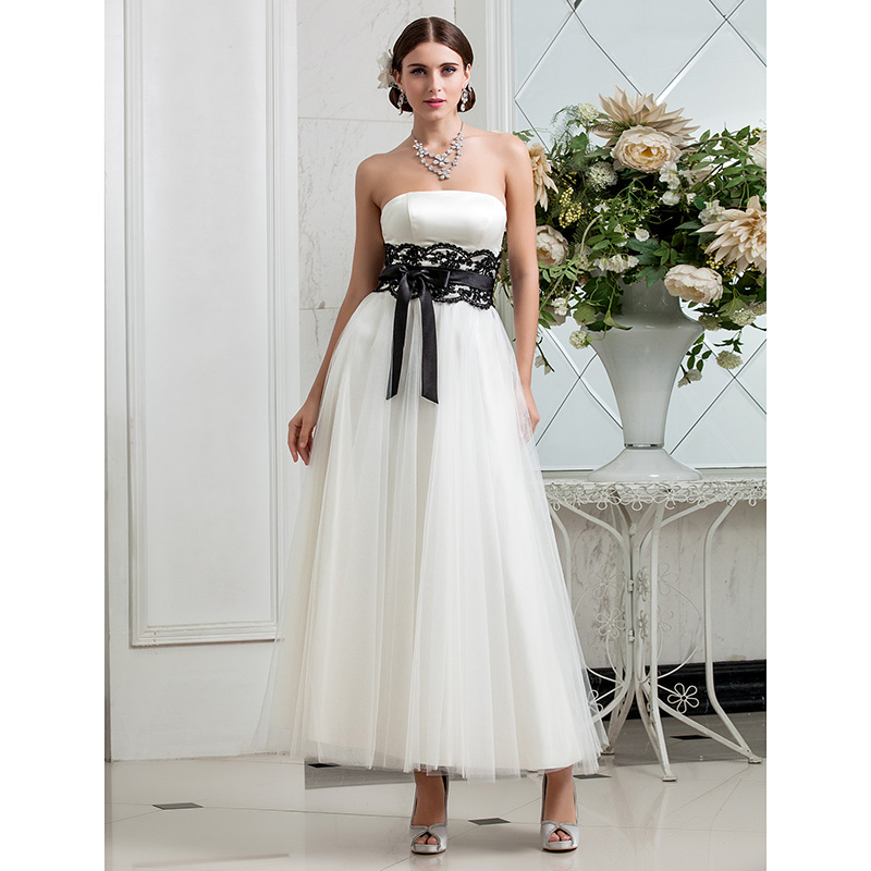 LAN TING BRIDE A Line Strapless Wedding Dress Ankle Length