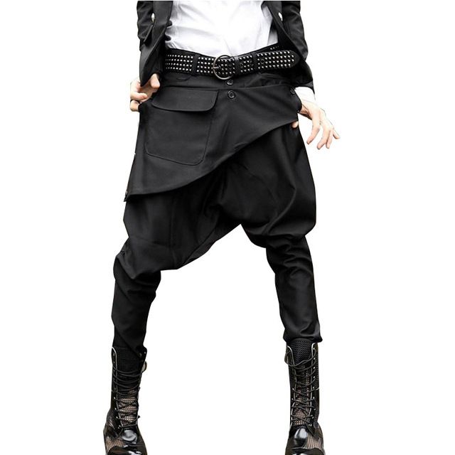 New Mens Casual Pants Drop Crotch Trousers Men Fashion Show Harem Pant Male Punk Rock Stage Clothing
