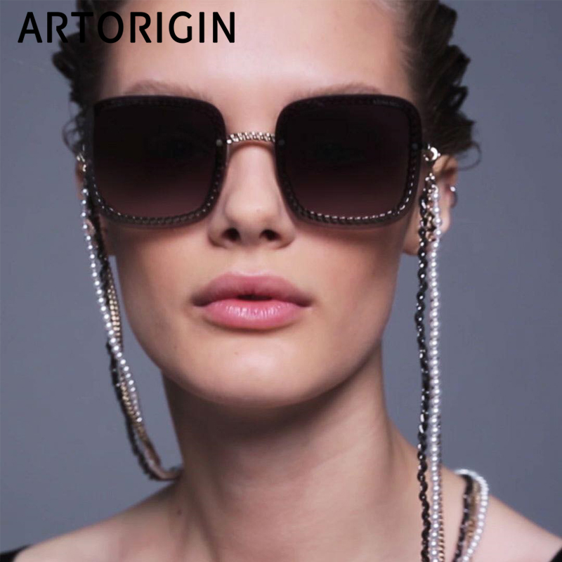 ARTORIGIN Luxury Women Sunglasses Brand Designer Rimless Square Stylish Elegant Sun Glasses For Women Lunette Soleil Femme 20195