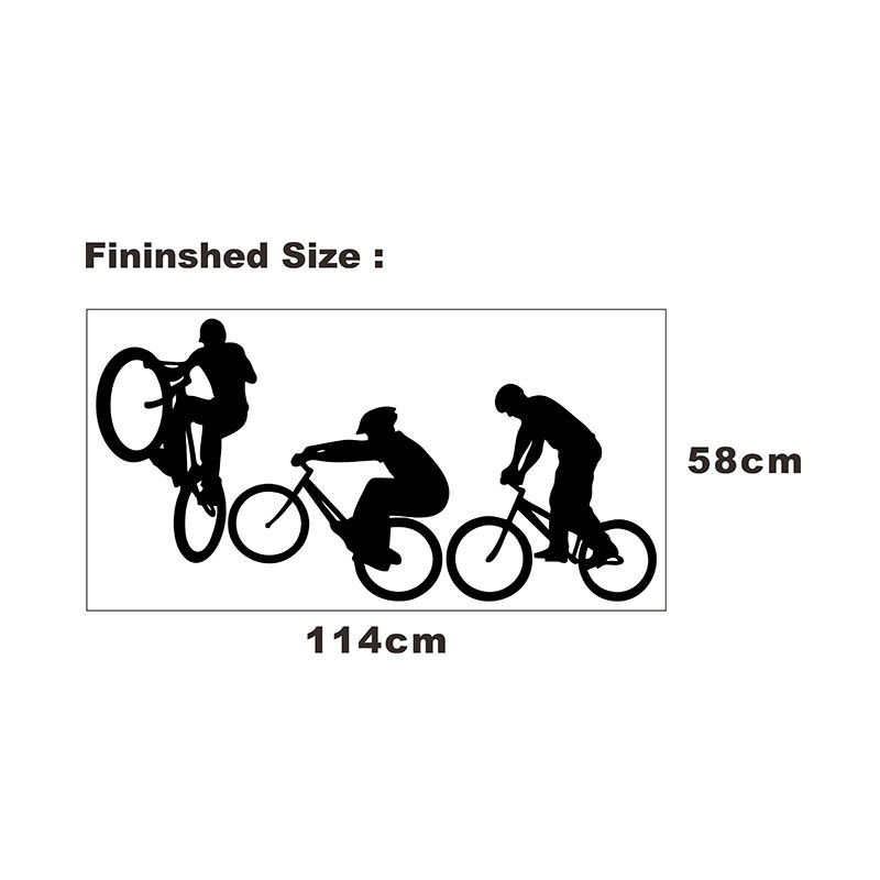 Wall Decal Sport Bicycle Bike Cyclists Extreme Sports Home Accessories House Room Decoration Living Room Wall Sticker Decor F108 in Wall Stickers from Home Garden