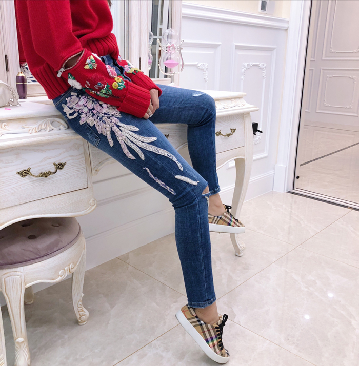 New  Dimensional Embroidery Hand Knitted Angel Wings Jeans Elastic Pencil Pants