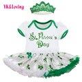 2017 St Patricks Day Bebé Niñas Ropa de Recién Nacido Mameluco Del Algodón Del Mameluco Del Tutú Vestidos de Tres-Deje RD152S Personalizados Disponibles