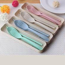 Portable Wheat Straw Tableware Cutlery Set Three Piece For Children Adult Travel Cutlery Kit Gift Dinnerware Set 40(China)