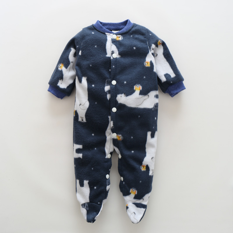 Newborn Baby Boy Clothes Infant Romper Long Sleeve Cartoon Print Baby Girl Rompers Jumpsuit Pajamas Baby Clothing Girl Products penguin fleece body bebe baby rompers long sleeve roupas infantil newborn baby girl romper clothes infant clothing size 6m